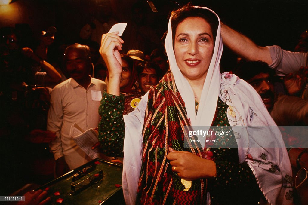 Former Prime Minister of Pakistan, <a gi-track='captionPersonalityLinkClicked' href=/galleries/search?phrase=Benazir+Bhutto&family=editorial&specificpeople=202012 ng-click='$event.stopPropagation()'>Benazir Bhutto</a> (1953 - 2007), leader of the Pakistan Peoples Party (PPP), voting in the Pakistani General Election, Pakistan, 24th October 1990.