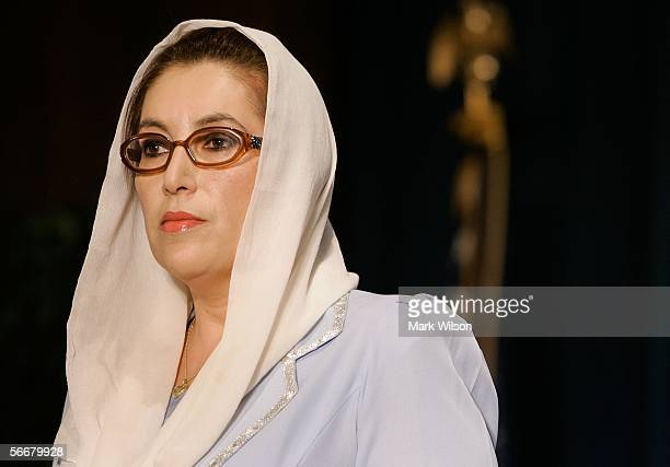 Former Prime Minister of Pakistan Benazir Bhutto listens to questions during a news conference at the Voice of America January 26 2006 in Washington...