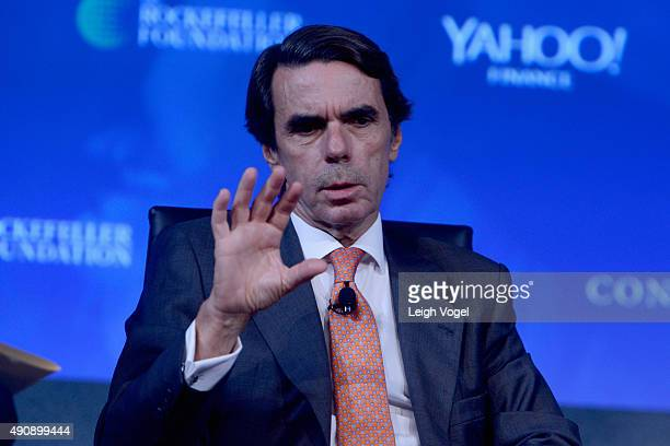 Former Prime Minister of Spain Jose Maria Aznar speaks on stage during the 2015 Concordia Summit at Grand Hyatt New York on October 1 2015 in New...