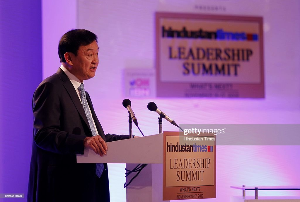 Former Prime Minister of Thailand <a gi-track='captionPersonalityLinkClicked' href=/galleries/search?phrase=Thaksin+Shinawatra&family=editorial&specificpeople=220948 ng-click='$event.stopPropagation()'>Thaksin Shinawatra</a> addresses the gathering during the first day of the Hindustan Times Leadership Summit on November 16, 2012 in New Delhi, India.