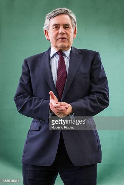 Former Prime Minister of the United Kingdom Gordon Brown attends a photocall at Edinburgh International Book Festival on August 30 2015 in Edinburgh...