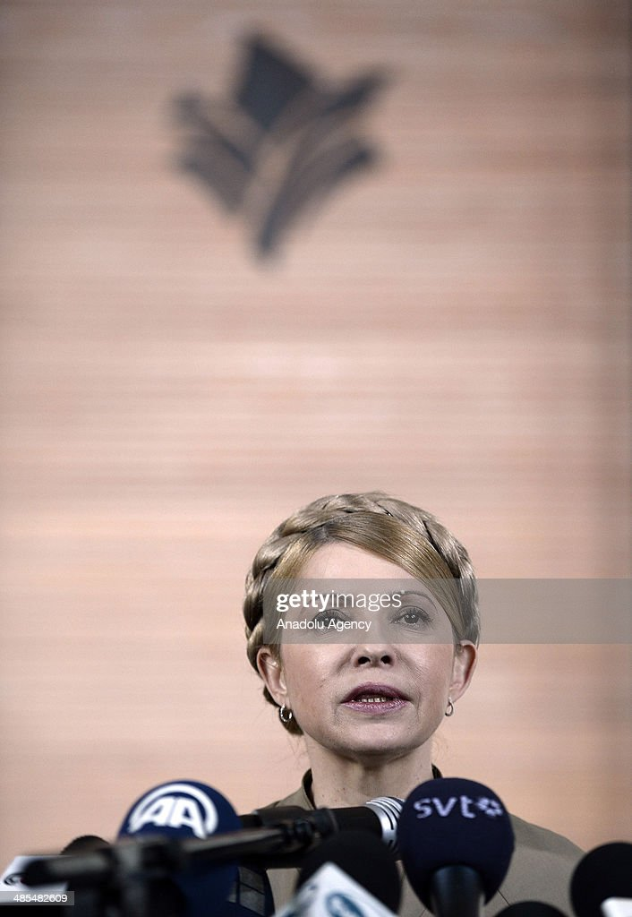 Former Prime Minister of Ukraine Yulia Tymoshenko, jailed for misconducting and released on 22 February 2014, holds a press conference in Donetsk, has a politic crisis, Ukraine on April 18, 2014.