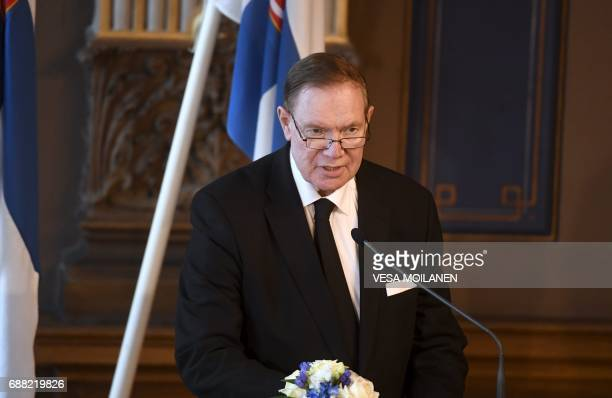 Former Prime Minister Paavo Lipponen giving a memorial speech during memorial service at the House of Estates after a state funeral service for...