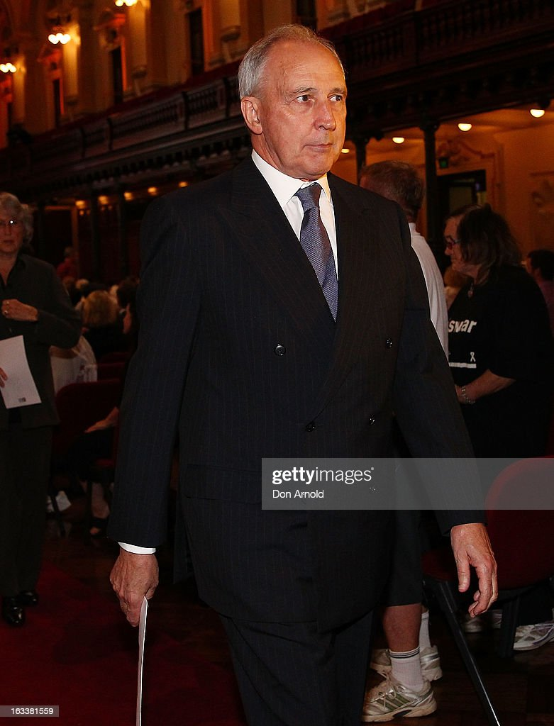 Former Prime Minister <a gi-track='captionPersonalityLinkClicked' href=/galleries/search?phrase=Paul+Keating&family=editorial&specificpeople=214228 ng-click='$event.stopPropagation()'>Paul Keating</a> is seen leaving the public memorial for Peter Harvey at Sydney Town Hall on March 9, 2013 in Sydney, Australia. Television journalist Peter Harvey, died in Sydney on March 2 aged 68 after a battle with pancreatic cancer.