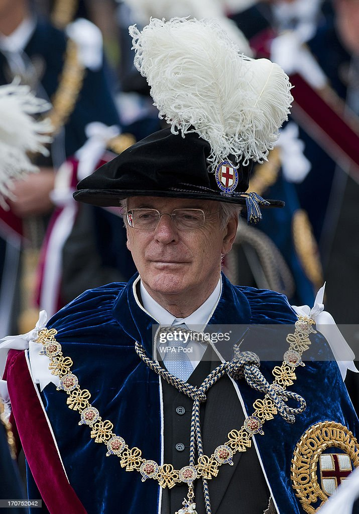 Former Prime Minister Sir John Major joins members of the royal family and Knights Garter for the annual service in the annual Garter Ceremony at...