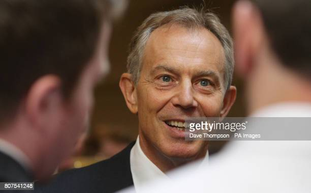 Former prime minister Tony Blair addresses Labour supporters and local business leaders during a visit to the Rams Head Inn in Denshaw