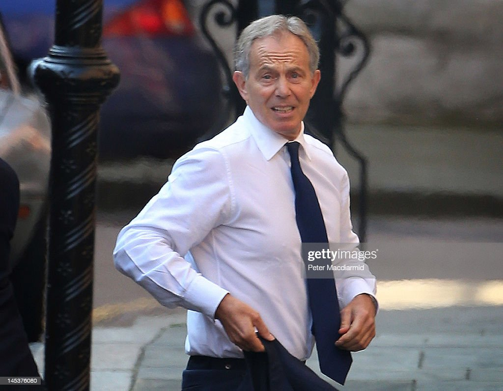 Former Prime Minister Tony Blair arrives at The Royal Courts of Justice to give evidence to The Leveson Inquiry on May 28 2012 in London England This...