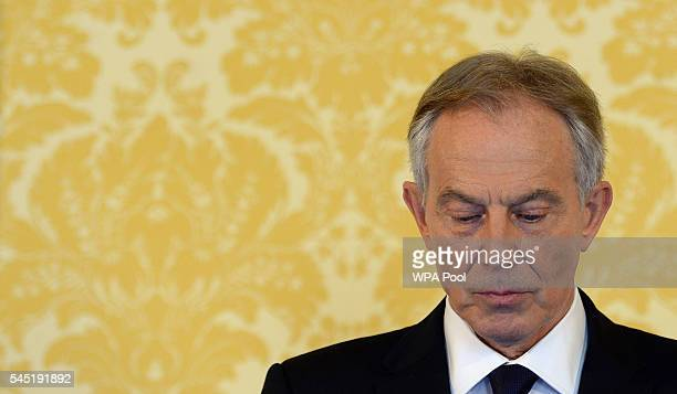 Former Prime Minister Tony Blair arrives for a press conference at Admiralty House where responding to the Chilcot report he said 'I express more...