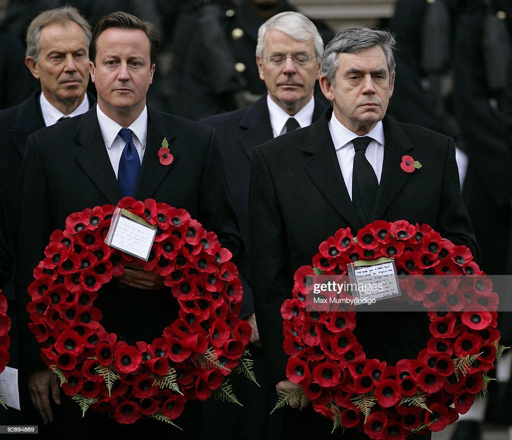 Former Prime Minister Tony Blair Conservative Party Leader David Cameron MP Former Prime Minister John Major and Prime Minister Gordon Brown attend...