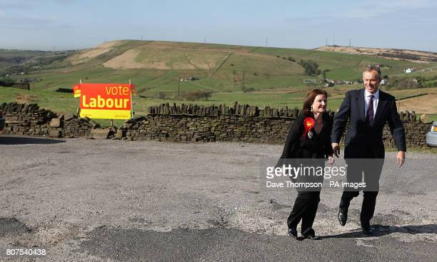 Former Prime Minister Tony Blair talks with Tracey Woolas the wife of the Labour candidate for Oldham East and Saddleworth during a visit to the Rams...