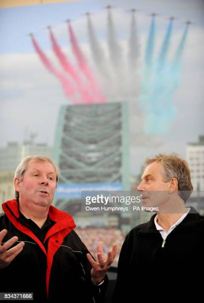 Former Prime Minister Tony Blair with former athlete Brendan Foster in front of a poster featuring the Great North Run as he announces how he will...