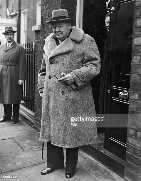 Former prime minister Winston Churchill leaves his Hyde Park home for London Airport en route to a holiday in the South of France 1st May 1956