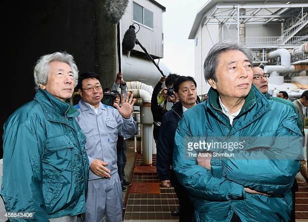 Former Prime Ministers Morihiro Hosokawa and Junichiro Koizumi inspects the Kyushu Electric Power Co's Hacchobaru geothermal power plant on November...