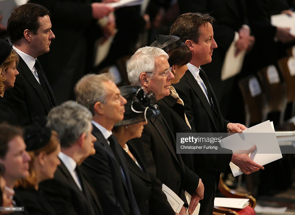 Former Prime Ministers Tony Blair John Major and Prime Minister David Cameron attend the Ceremonial funeral of former British Prime Minister Baroness...