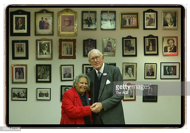 Former Primeminister Malcolm Fraser photographed with Doris Pilkington Garimara author of ''Rabbit Proof Fence'' Both people came together to promote...