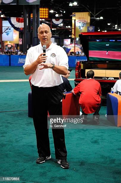 Former pro baseball player Cal Ripken Jr addresses attendees at The Chevy 2008 Virtual World Series Tournament on the FanFest Baseball Diamond at MLB...