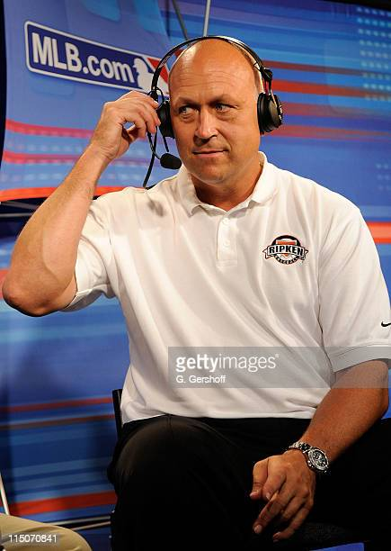 Former pro baseball player Cal Ripken Jr is seen during an interview at the Chevy Red Carpet Display area of the MLB All Star Game Fest at Javits...