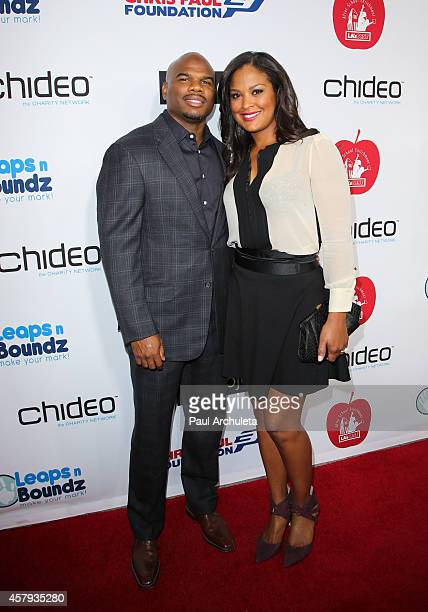 Former Pro Boxer Laila Ali and her husband Curtis Conway attend the CP3 Foundation's Celebrity Server Dinner at Mastro's Steakhouse on October 26...