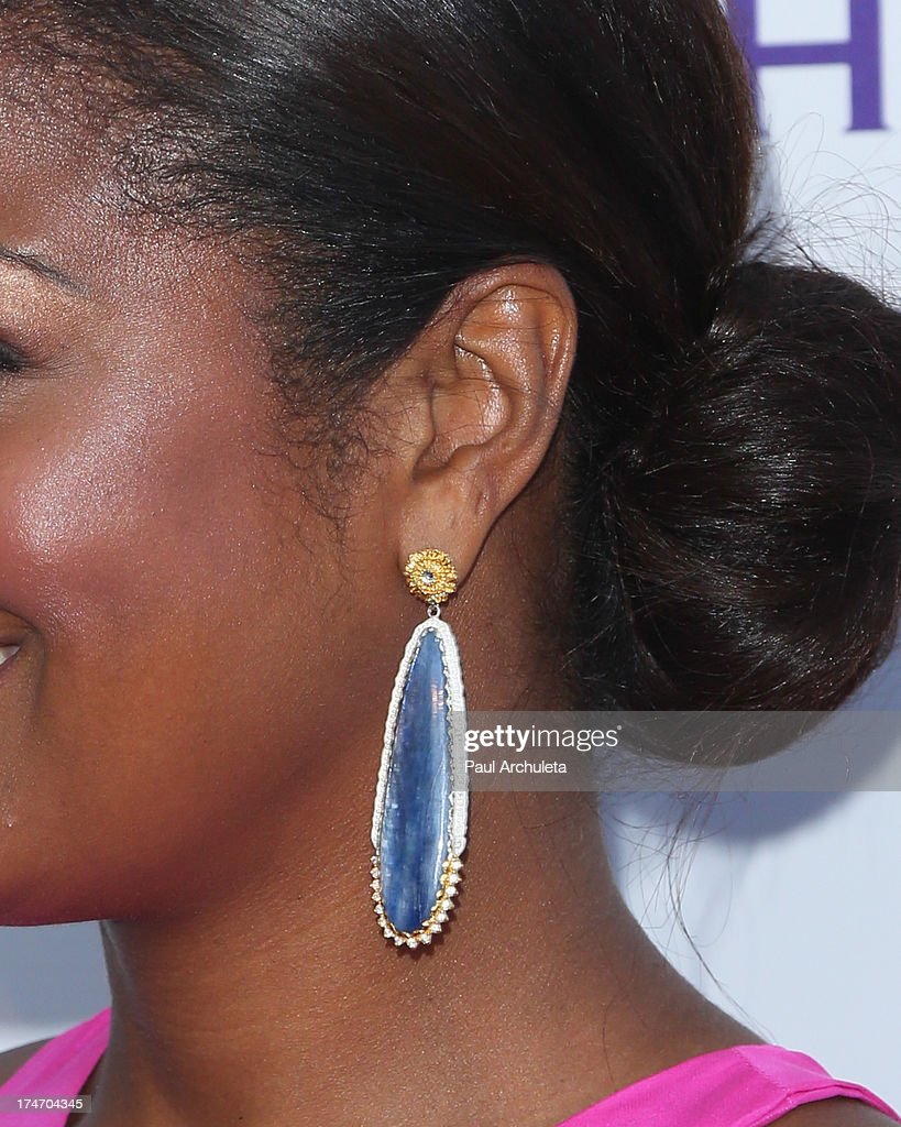 Former Pro Boxer Laila Ali (Jewelry Detail) attends the 15th annual DesignCare charity event on July 27, 2013 in Malibu, California.