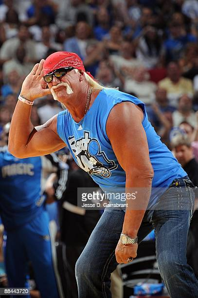 Former pro wrestler Hulk Hogan encourages the fans to support the Orlando Magic against the Los Angeles Lakers in Game Four of the 2009 NBA Finals at...