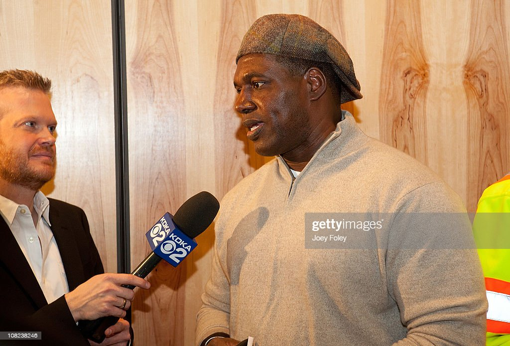 Former professional American football player Craig Bingham seen being interviewed for TV during the Steelers Playoff Party at Stage AE on January 14, 2011 in Pittsburgh, Pennsylvania.