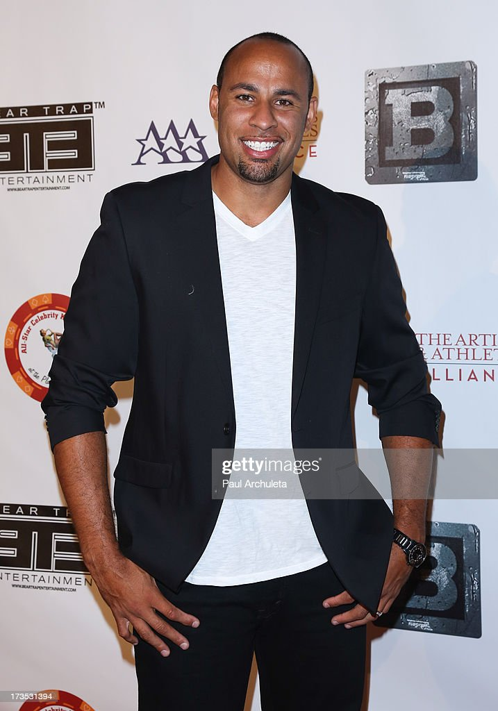 Former Professional Athlete <a gi-track='captionPersonalityLinkClicked' href=/galleries/search?phrase=Hank+Baskett&family=editorial&specificpeople=749185 ng-click='$event.stopPropagation()'>Hank Baskett</a> attends the 8th annual BTE All-Star Celebrity Kickoff Party at The Playboy Mansion on July 15, 2013 in Beverly Hills, California.