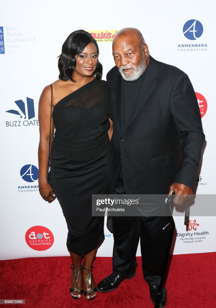Former Professional Athlete Jim Brown (R) and his Wife Monique Brown (L) attend the 17th Annual Harold & Carole Pump Foundation Gala at The Beverly Hilton Hotel on August 11, 2017 in Beverly Hills, California.