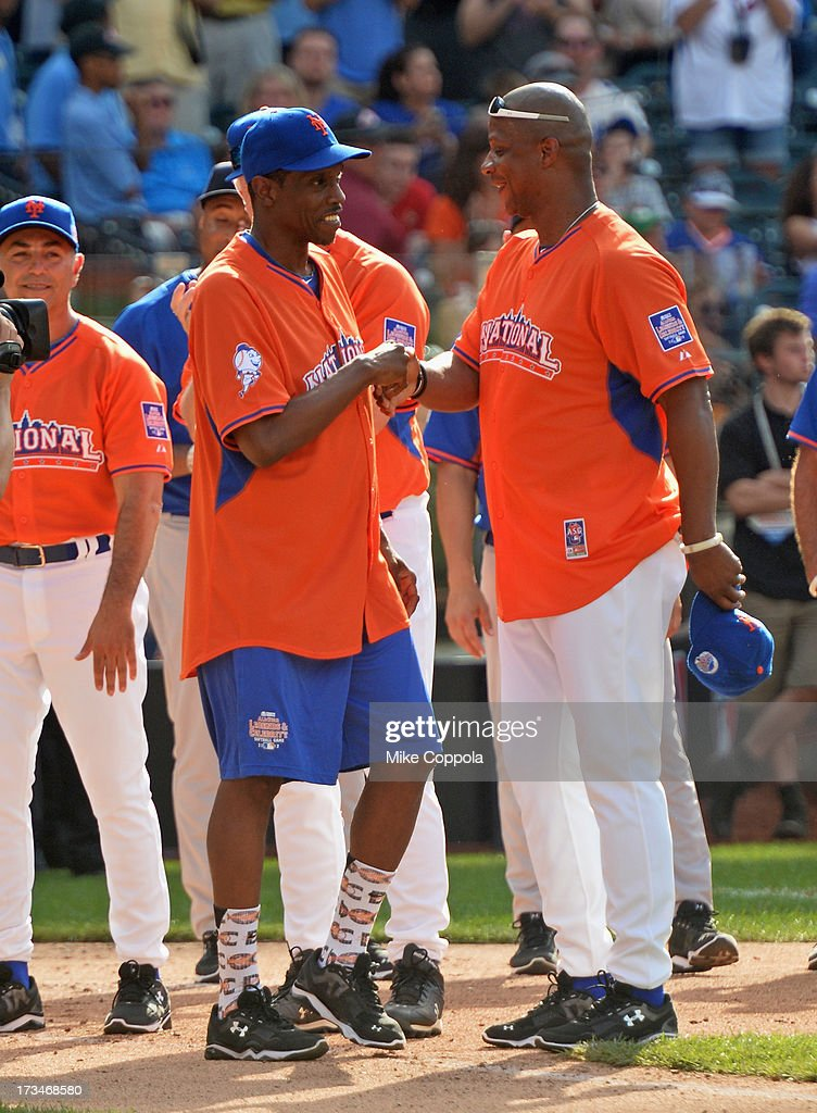Former professional baseball player <a gi-track='captionPersonalityLinkClicked' href=/galleries/search?phrase=Dwight+Gooden&family=editorial&specificpeople=206257 ng-click='$event.stopPropagation()'>Dwight Gooden</a> (L) and <a gi-track='captionPersonalityLinkClicked' href=/galleries/search?phrase=Darryl+Strawberry&family=editorial&specificpeople=206190 ng-click='$event.stopPropagation()'>Darryl Strawberry</a> attend the Taco Bell All-Star Legends & Celebrity Softball Game at Citi Field on July 14, 2013 in New York City.