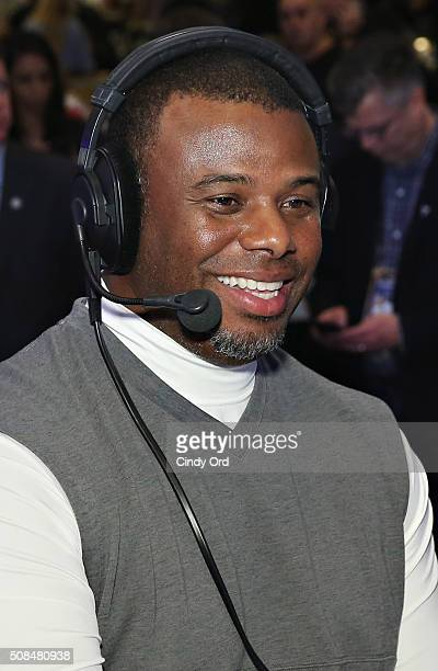 Former professional baseball player Ken Griffey Jr visits the SiriusXM set at Super Bowl 50 Radio Row at the Moscone Center on February 4 2016 in San...