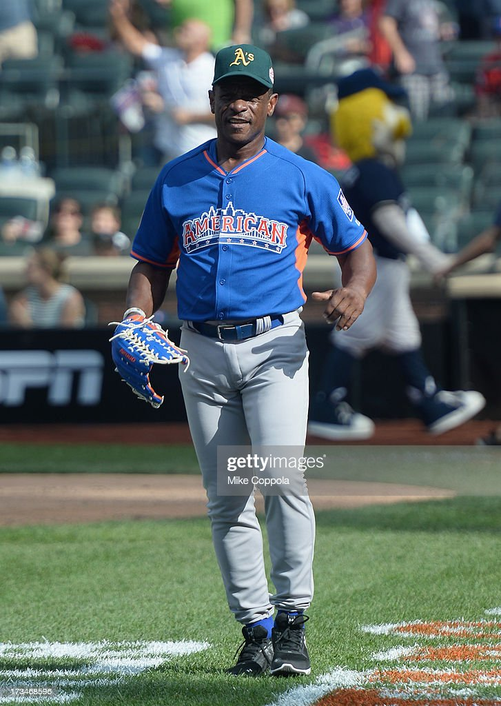 Former professional baseball player <a gi-track='captionPersonalityLinkClicked' href=/galleries/search?phrase=Rickey+Henderson&family=editorial&specificpeople=202868 ng-click='$event.stopPropagation()'>Rickey Henderson</a> attends the Taco Bell All-Star Legends & Celebrity Softball Game at Citi Field on July 14, 2013 in New York City.