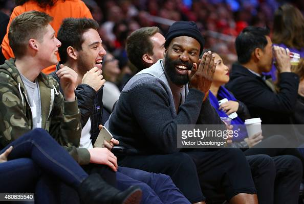 Former professional basketball player Baron Davis attends the NBA game between the Golden State Warriors and the Los Angeles Clippers at Staples...