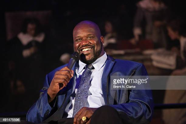 Former professional basketball player/author Shaquille O'Neal speaks on stage during LIVE from the NYPL Shaquille O'Neal held at the New York Public...