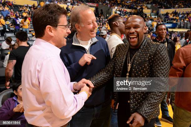 Former professional boxer Floyd Mayweather attends the game between the LA Clippers and the Los Angeles Lakers on October 19 2017 at STAPLES Center...