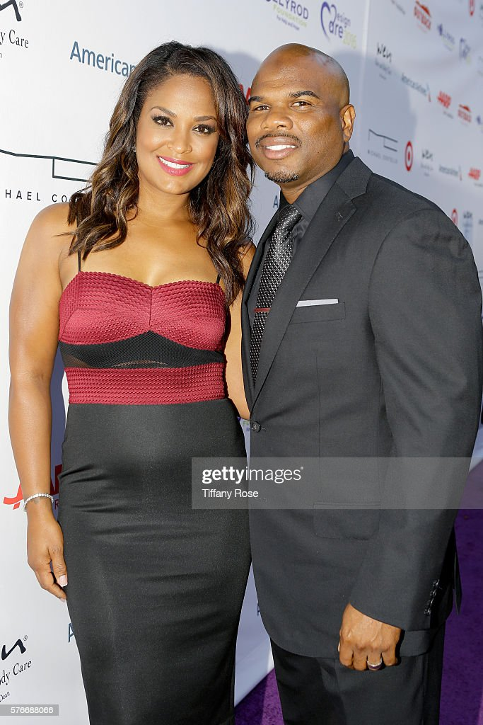 Former professional boxer Laila Ali and former NFL player Curtis Conway attend HollyRod Foundation's DesignCare Gala on July 16 2016 in Pacific...