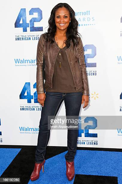 Former professional boxer Laila Ali attends the premiere of Warner Bros Pictures' And Legendary Pictures' '42' at TCL Chinese Theatre on April 9 2013...