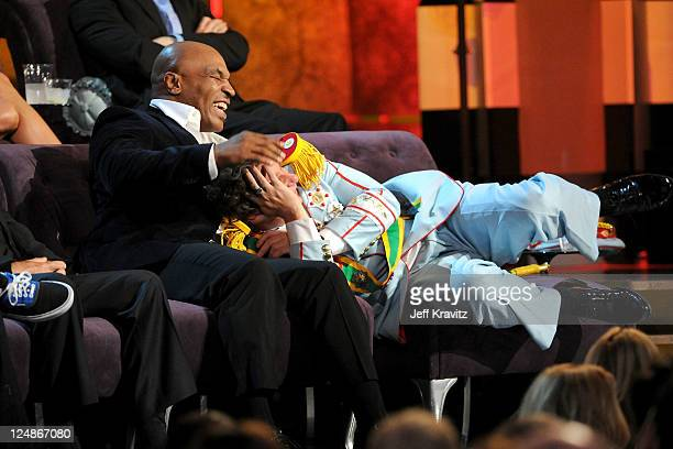 Former professional boxer Mike Tyson and comedian Jeffrey Ross onstage at Comedy Central's Roast of Charlie Sheen held at Sony Studios on September...