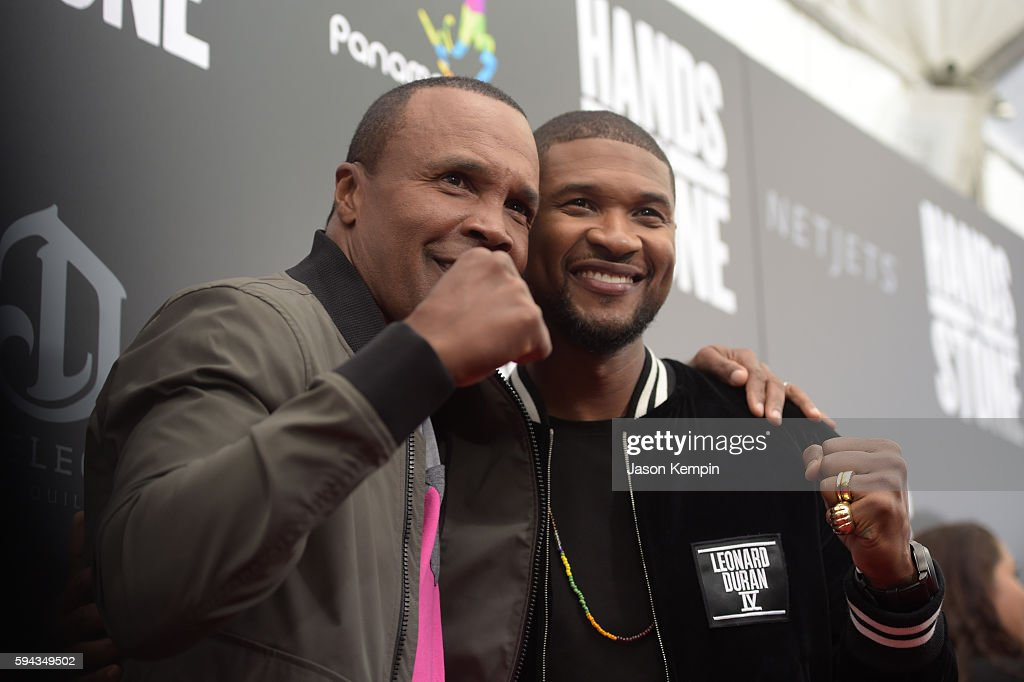 Former professional boxer Sugar Ray Leonard and Usher attend the New York Premiere Of 'Hands Of Stone' in Partnership with DeLeon Tequila NetJets The...
