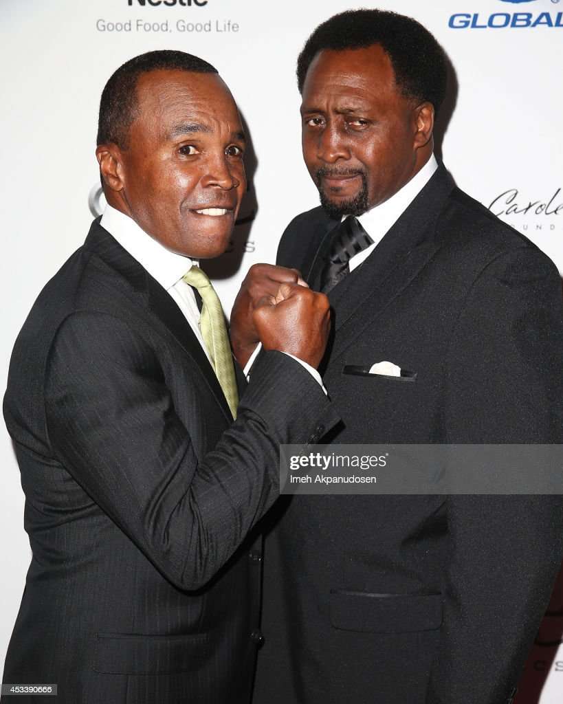 Former professional boxers <a gi-track='captionPersonalityLinkClicked' href=/galleries/search?phrase=Sugar+Ray+Leonard&family=editorial&specificpeople=206479 ng-click='$event.stopPropagation()'>Sugar Ray Leonard</a> (L) and <a gi-track='captionPersonalityLinkClicked' href=/galleries/search?phrase=Thomas+Hearns&family=editorial&specificpeople=780282 ng-click='$event.stopPropagation()'>Thomas Hearns</a> attend the 14th Annual Harold & Carole Pump Foundation Gala at the Hyatt Regency Century Plaza on August 8, 2014 in Century City, California.