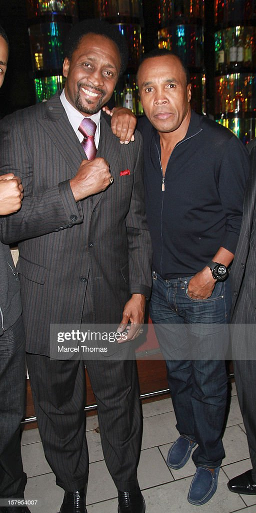 Former professional boxers Thomas 'Hitman' Hearns and <a gi-track='captionPersonalityLinkClicked' href=/galleries/search?phrase=Sugar+Ray+Leonard&family=editorial&specificpeople=206479 ng-click='$event.stopPropagation()'>Sugar Ray Leonard</a> attend the Launch Party for 'Mike Tyson Cares Foundation' at Tabu Ultra Lounge at MGM Grand on December 7, 2012 in Las Vegas, Nevada.