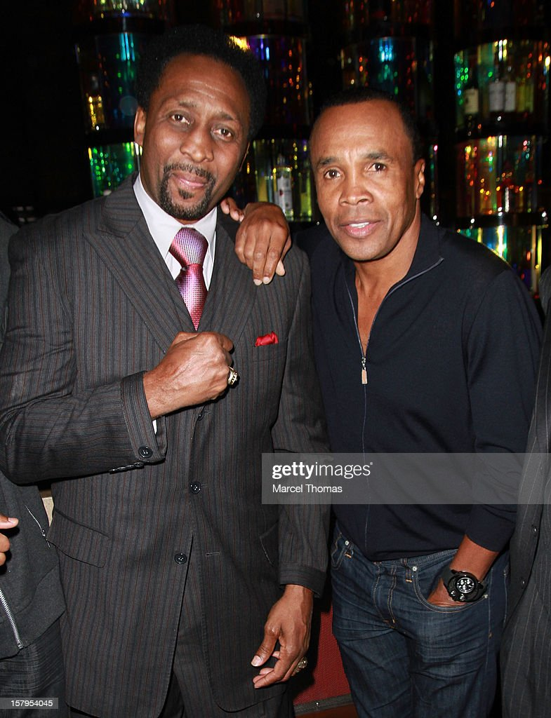 Former professional boxers Thomas 'Hitman' Hearns and Sugar Ray Leonard attend the Launch Party for 'Mike Tyson Cares Foundation' at Tabu Ultra Lounge at MGM Grand on December 7, 2012 in Las Vegas, Nevada.
