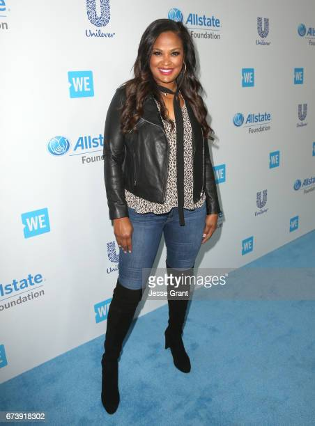 Former professional boxer/TV host Laila Ali attends WE Day California to celebrate young people changing the world at The Forum on April 27 2017 in...