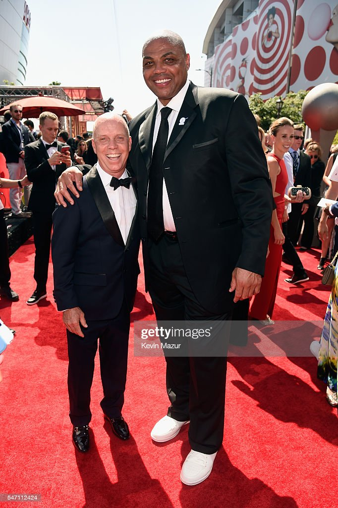 Former professional figure skater Scott Hamilton (L) and former NBA player Charles Barkley attend the 2016 ESPYS at Microsoft Theater on July 13, 2016 in Los Angeles, California.