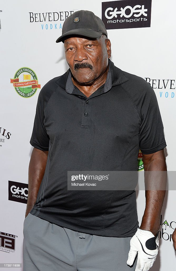 Former professional football player and actor <a gi-track='captionPersonalityLinkClicked' href=/galleries/search?phrase=Jim+Brown&family=editorial&specificpeople=215263 ng-click='$event.stopPropagation()'>Jim Brown</a> attends The 4th annual Alex Thomas Celebrity Golf Classic presented by Belvedere at Mountain Gate Country Club on July 15, 2013 in Los Angeles, California.