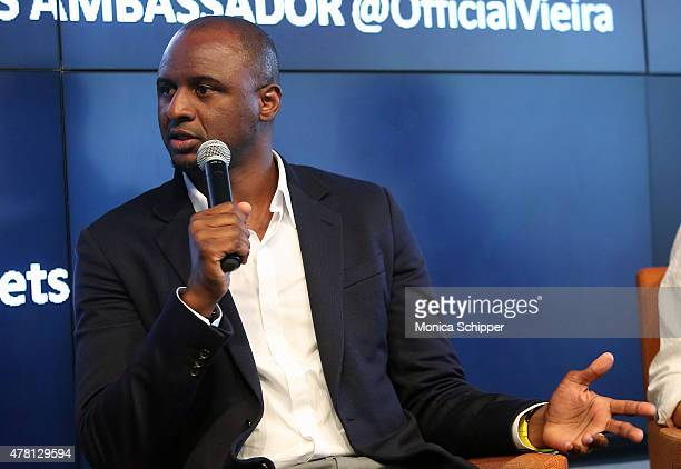 Former professional football player and Western Union Pass Ambassador Patrick Vieira speaks at the Beyond Soccer Series Powered By...