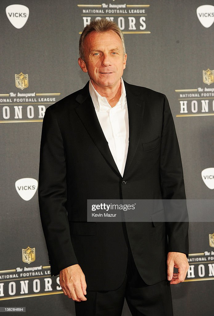 Former Professional Football Player <a gi-track='captionPersonalityLinkClicked' href=/galleries/search?phrase=Joe+Montana&family=editorial&specificpeople=206967 ng-click='$event.stopPropagation()'>Joe Montana</a> attends the 2012 NFL Honors at the Murat Theatre on February 4, 2012 in Indianapolis, Indiana.