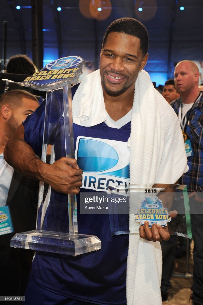 Former professional football player <a gi-track='captionPersonalityLinkClicked' href=/galleries/search?phrase=Michael+Strahan&family=editorial&specificpeople=210563 ng-click='$event.stopPropagation()'>Michael Strahan</a> attends DIRECTV'S 7th annual celebrity Beach Bowl at DTV SuperFan Stadium at Mardi Gras World on February 2, 2013 in New Orleans, Louisiana.