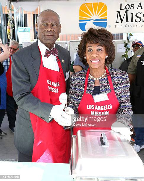 Former professional football player Sidney Williams and Congresswoman Maxine Waters attend the Los Angeles Mission's Easter Celebration Of New Life...
