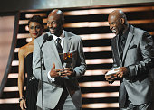 Former Professional Football Players Jerry Rice and Deon Sanders speak during the 2012 NFL Honors at the Murat Theatre on February 4 2012 in...