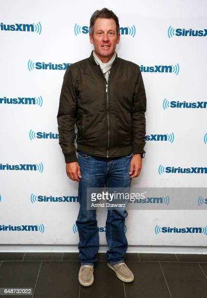 Former professional road racing cyclist Lance Armstrong visits the SiriusXM Studios on March 6 2017 in New York City