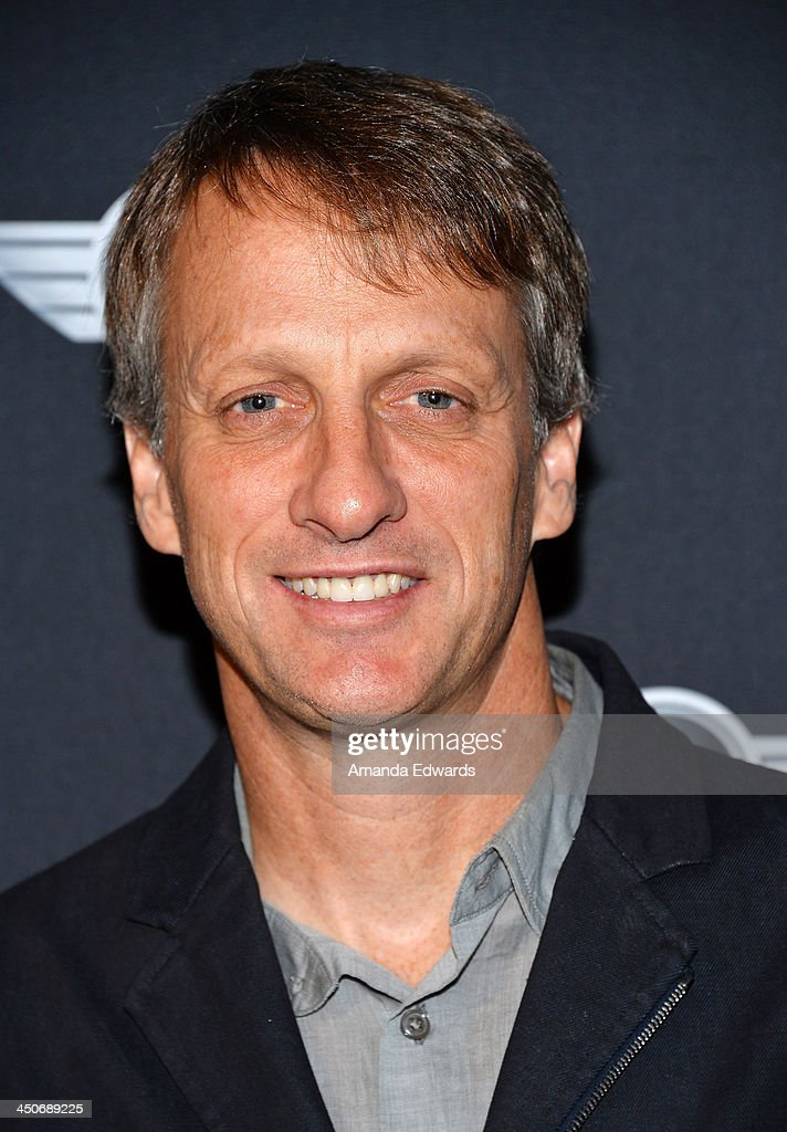 Former professional skateboarder <a gi-track='captionPersonalityLinkClicked' href=/galleries/search?phrase=Tony+Hawk+-+Skateboarder&family=editorial&specificpeople=201818 ng-click='$event.stopPropagation()'>Tony Hawk</a> arrives at the MINI Cooper red carpet premiere on November 19, 2013 in Los Angeles, California.